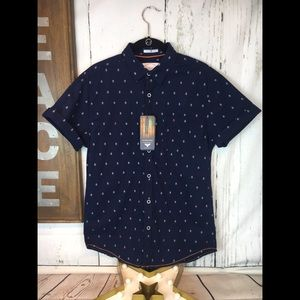 Denim & Flower Navy Blue Anchor Slim Fit Shirt S